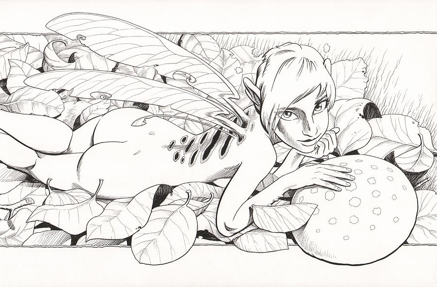 Faeries Drawing - Bed Of Leaves by Richard Moore