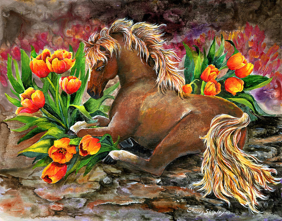 Horse Painting - Bed Of Tulips by Sherry Shipley
