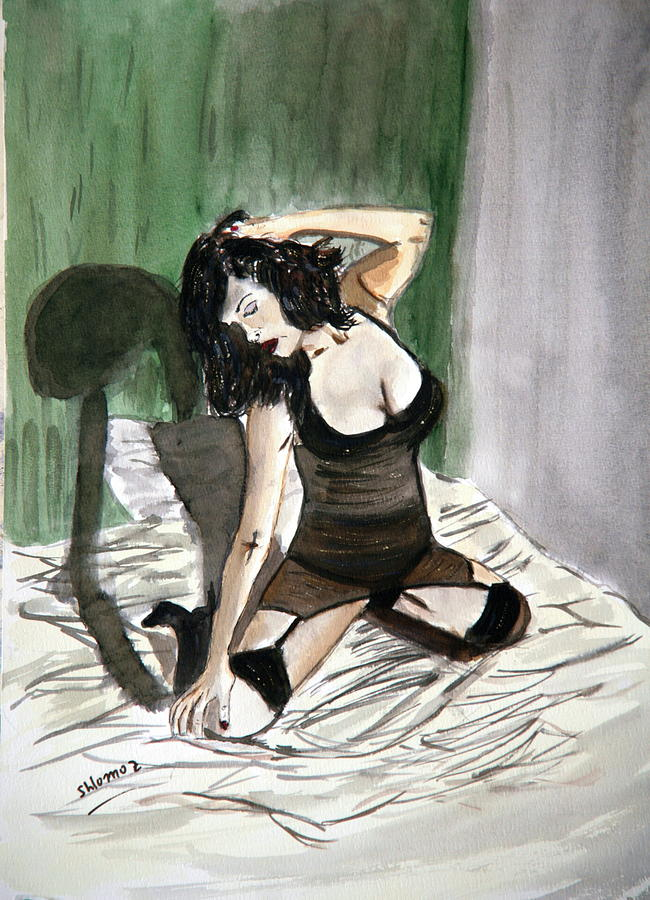 Woman Greeting Cards Painting - Bed Passion. by Shlomo Zangilevitch