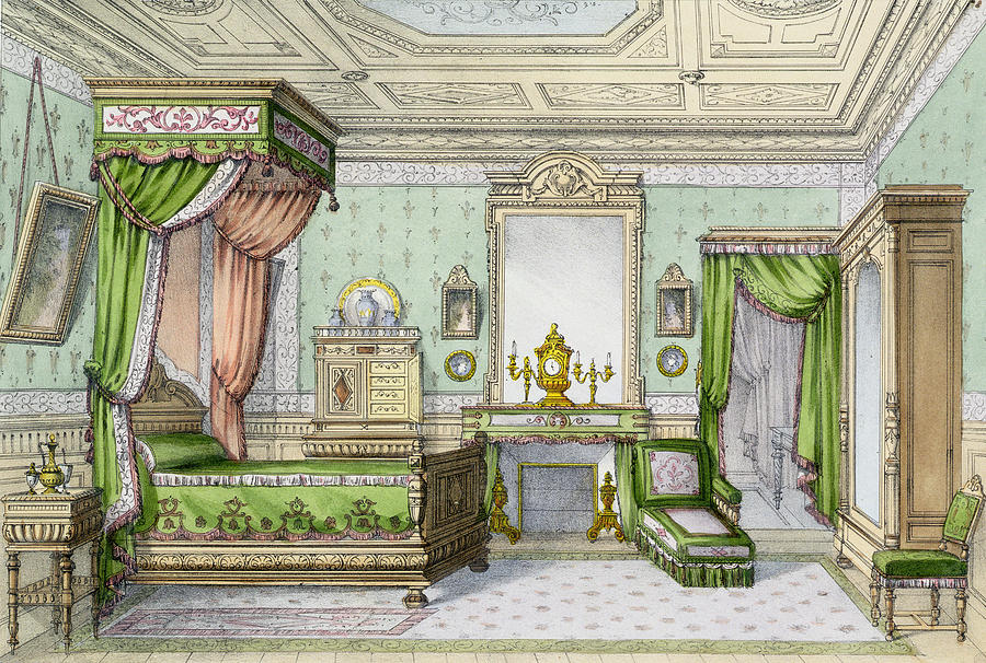 Interior Drawing - Bedroom In The Renaissance Style by French School
