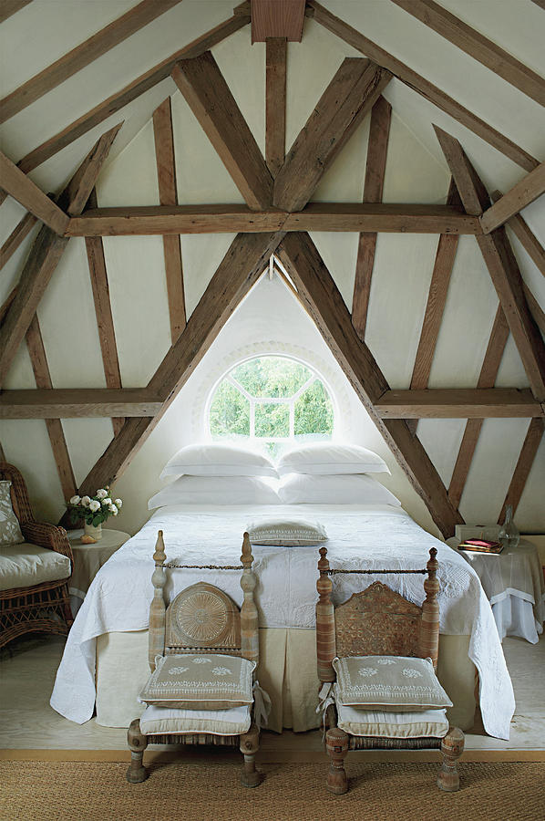Bedroom With Wooden Ceiling Photograph by Tim Beddow
