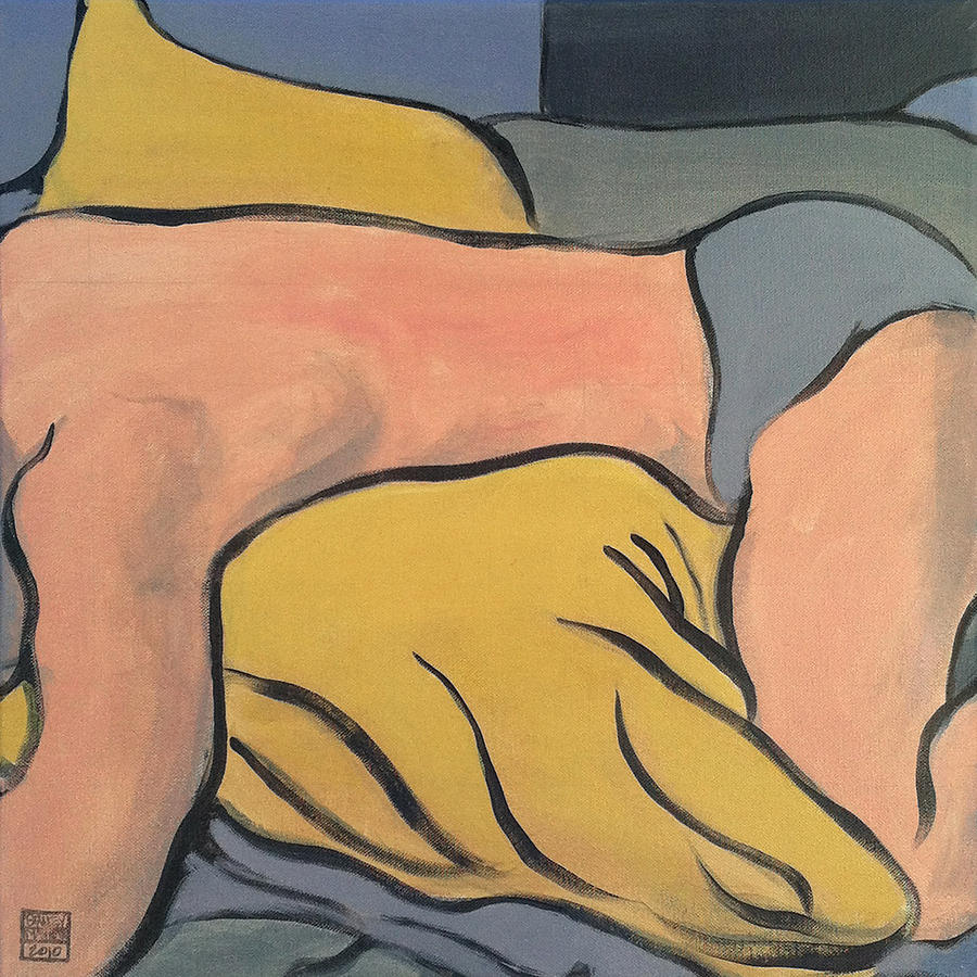 male Nude Painting - Bedscape One Am by Stan  Magnan