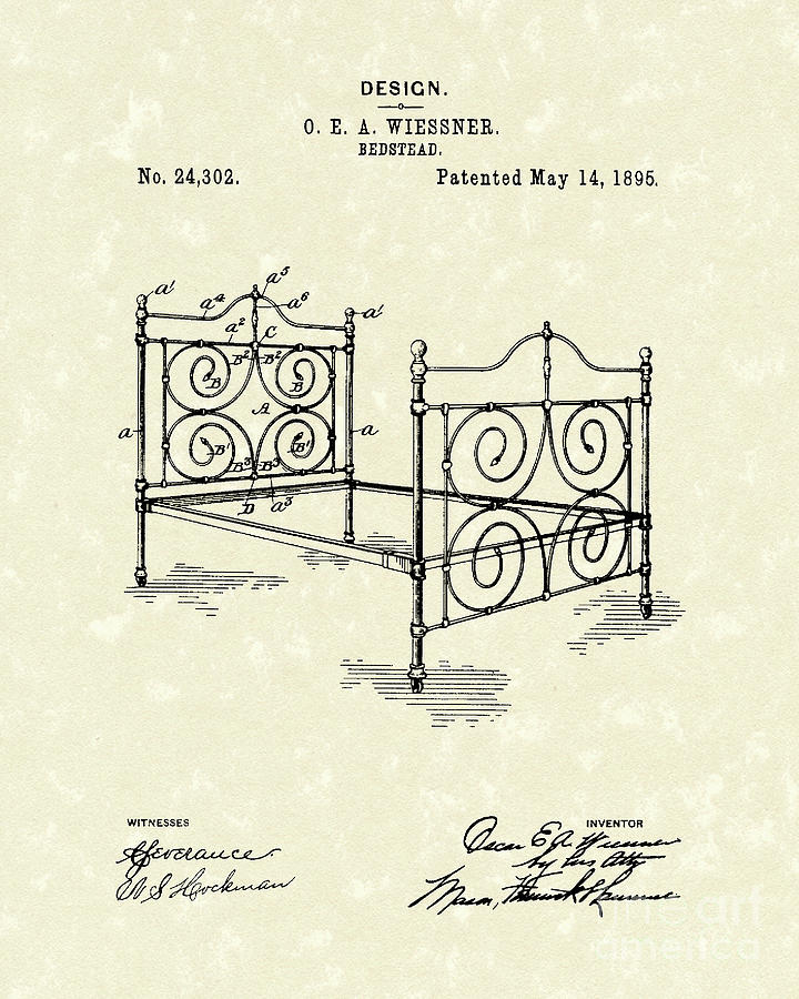 Wiessner Drawing - Bedstead 1895 Patent Art by Prior Art Design