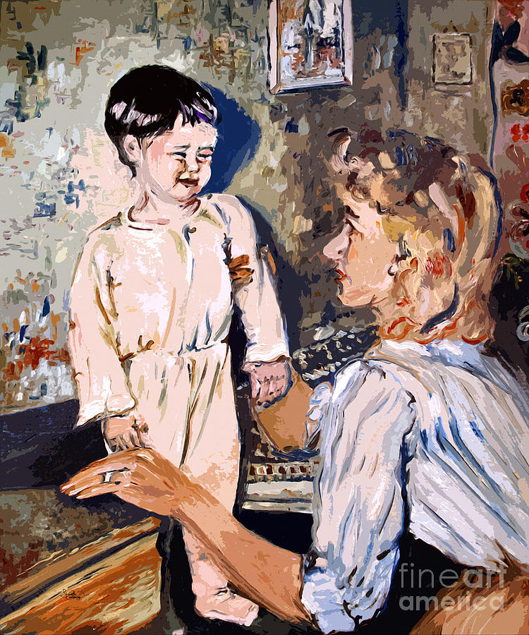 Children Painting - Bedtime Ginette Self Portrait As Child by Ginette Callaway