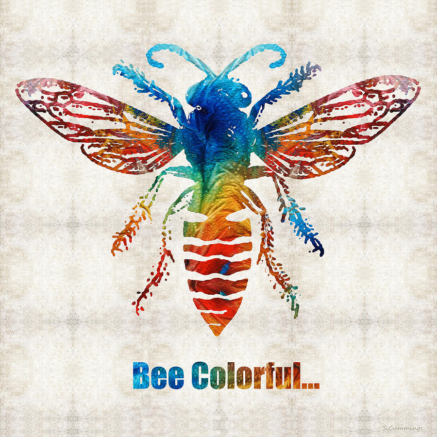 Bee Painting - Bee Colorful - Art by Sharon Cummings by Sharon Cummings