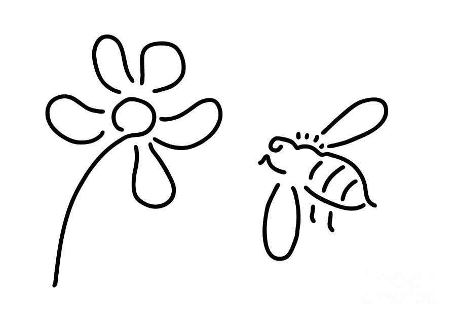 Bee Honey Flower Blossom Drawing