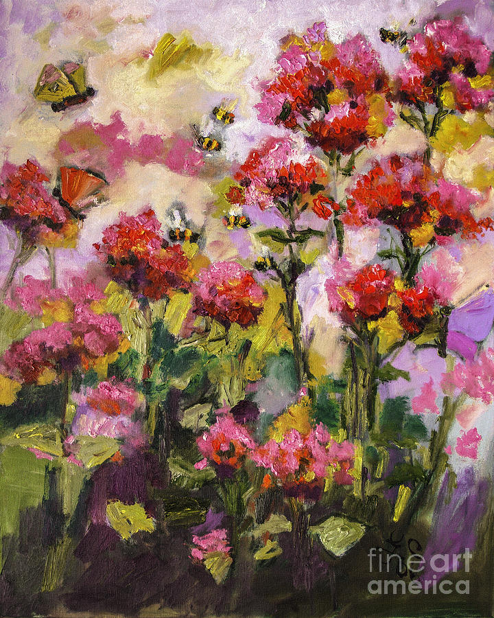 Beebalm and Bees Painting by Ginette Callaway