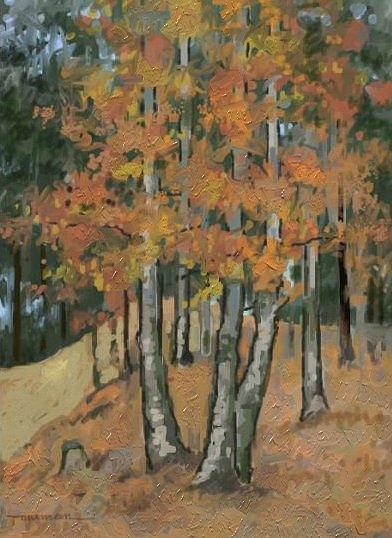 Autumn Landscape Painting - Beeches In Bradisor by Tancau Emanuel