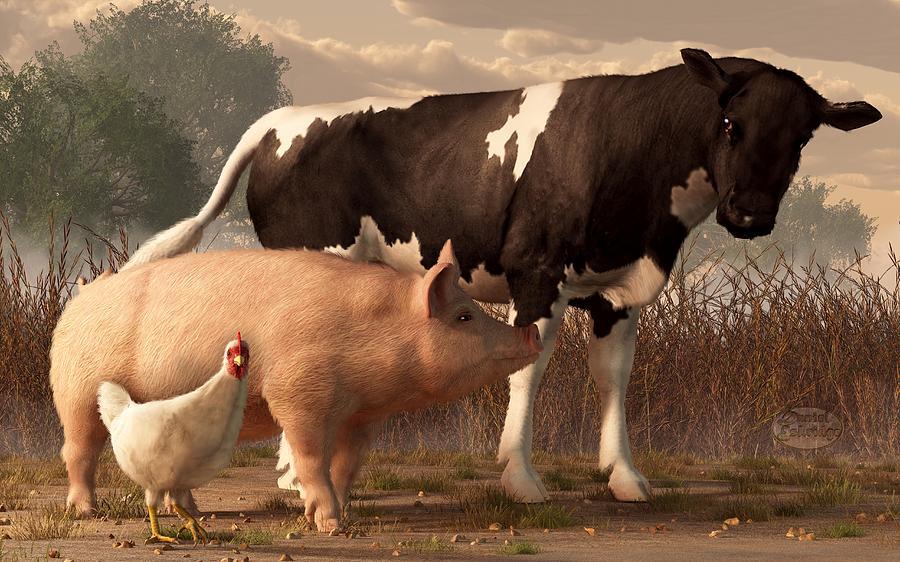 Cow Digital Art - Beef Pork And Poultry  by Daniel Eskridge