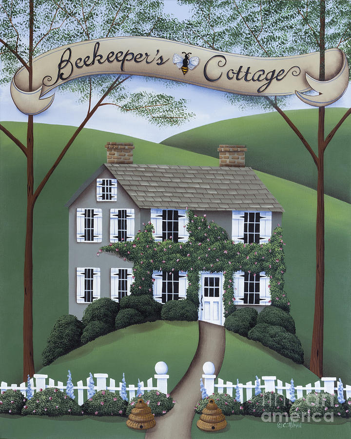 Primitive Painting - Beekeepers Cottage by Catherine Holman