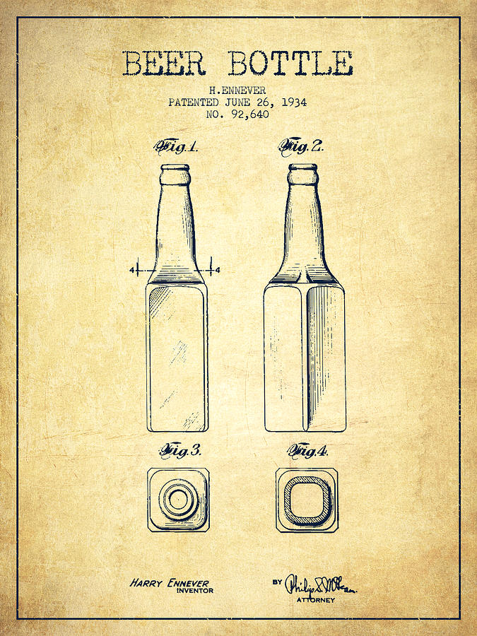Beer Bottle Patent Drawing From 1934 - Vintage Digital Art