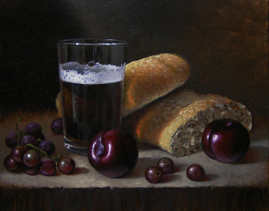 Beer Painting - Beer Bread And Fruit by Timothy Jones