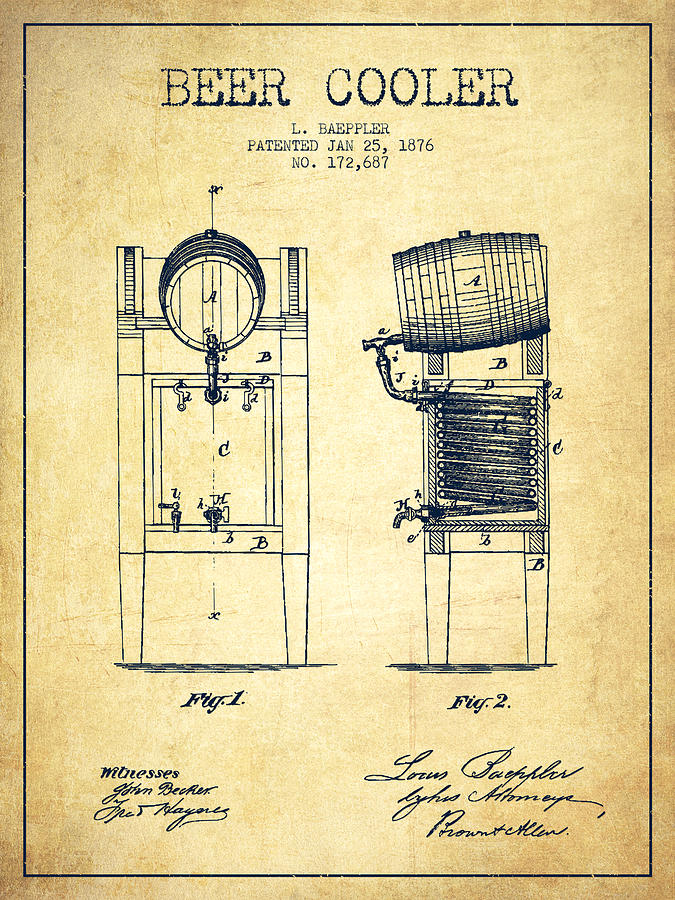 Beer Cooler Patent Drawing From 1876 - Vintage Digital Art