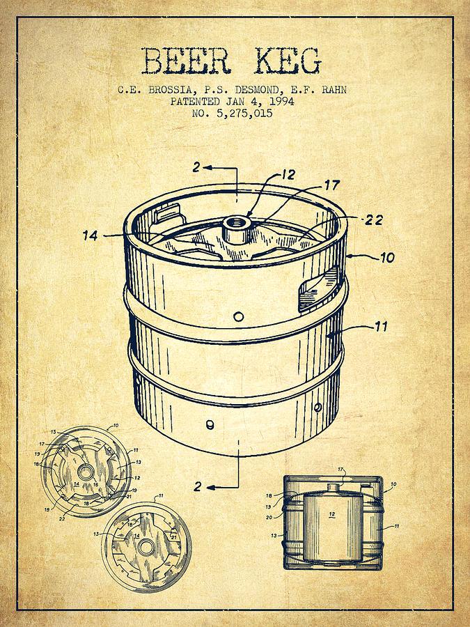 Beer Keg Patent Drawing - Vintage Digital Art