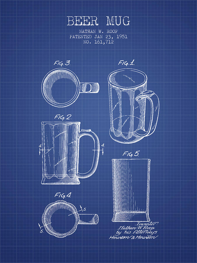 Beer mug patent 1951 blueprint digital art by aged pixel beer digital art beer mug patent 1951 blueprint by aged pixel malvernweather Image collections