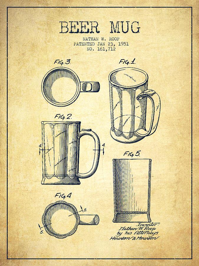 Beer Mug Patent Drawing From 1951 - Vintage Digital Art