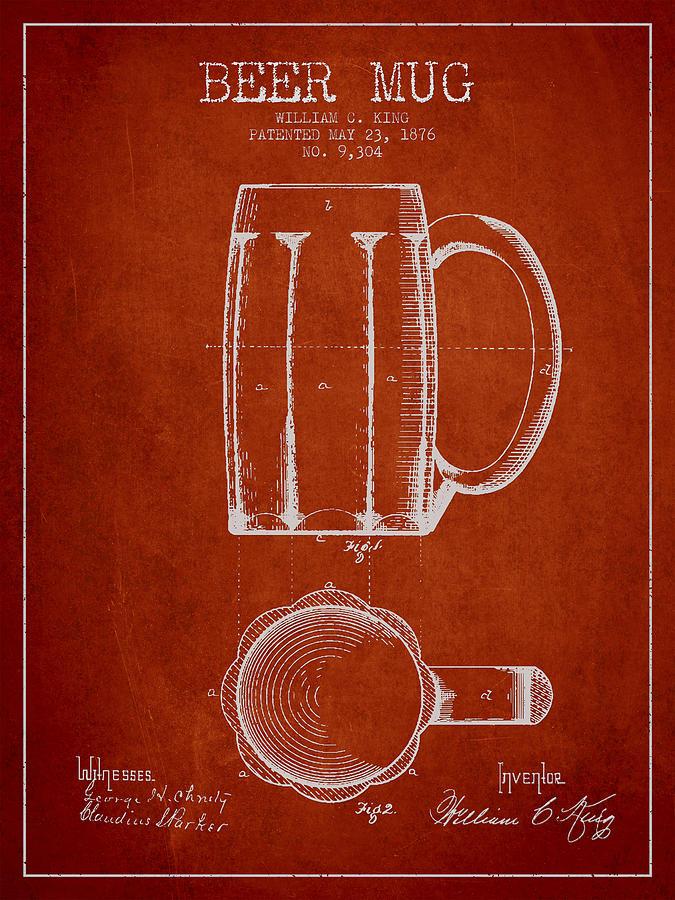 Beer Mug Digital Art - Beer Mug Patent From 1876 - Red by Aged Pixel