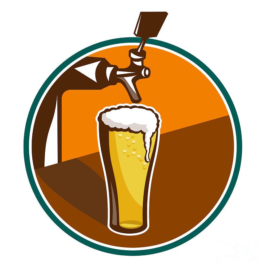 Beer Pint Glass Tap Retro Digital Art