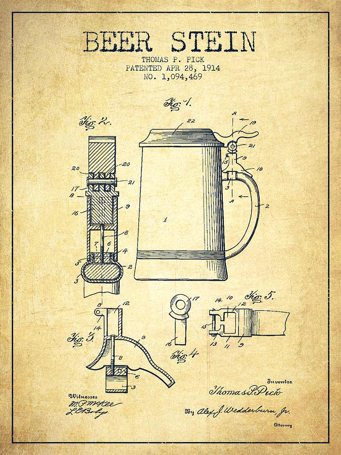 Beer Mug Digital Art - Beer Stein Patent From 1914 -vintage by Aged Pixel