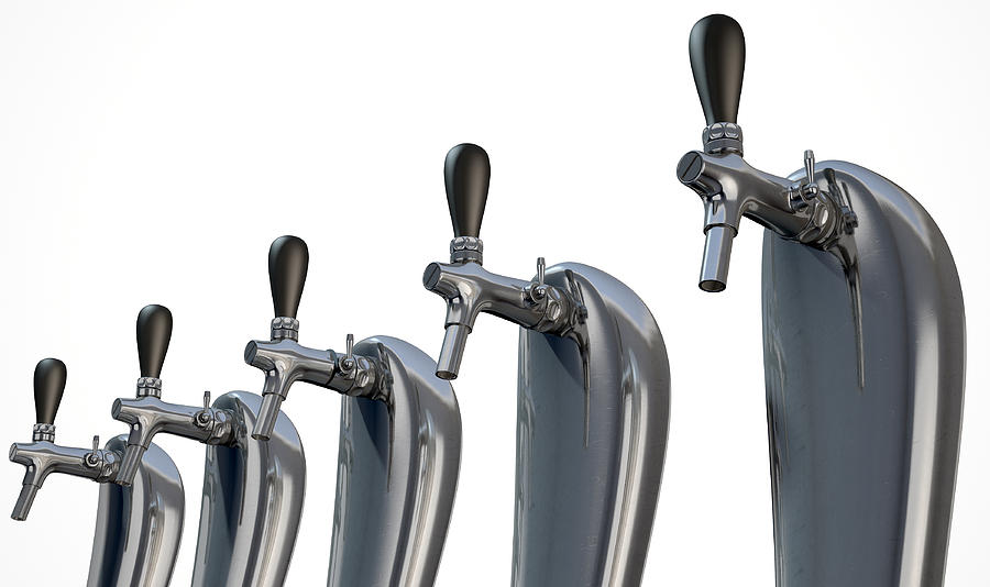 Alcohol Digital Art - Beer Tap Row Isolated by Allan Swart