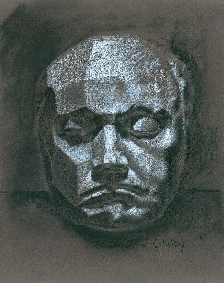 Portrait Drawing - Beethoven Death Mask by Claudia Kilby