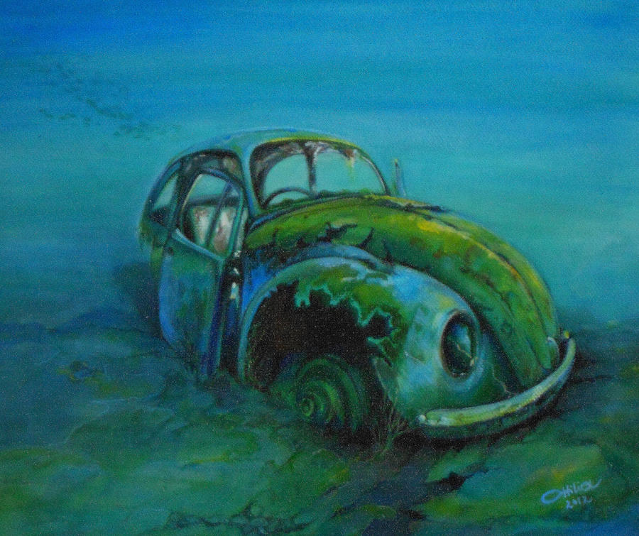 Car Painting Painting - Beetle Forever by Ottilia Zakany