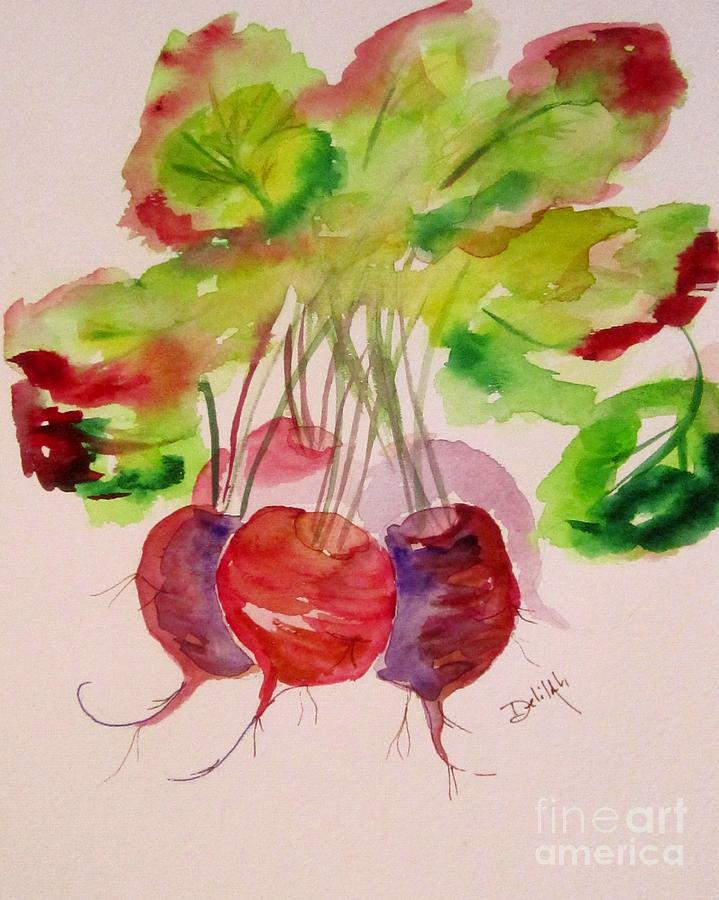 Vegetable Painting - Beets And Green Tops by Delilah  Smith