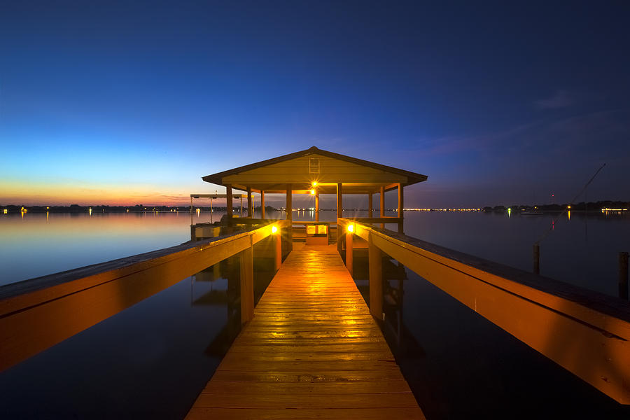 Boats Photograph - Before Dawn At The Dock by Debra and Dave Vanderlaan
