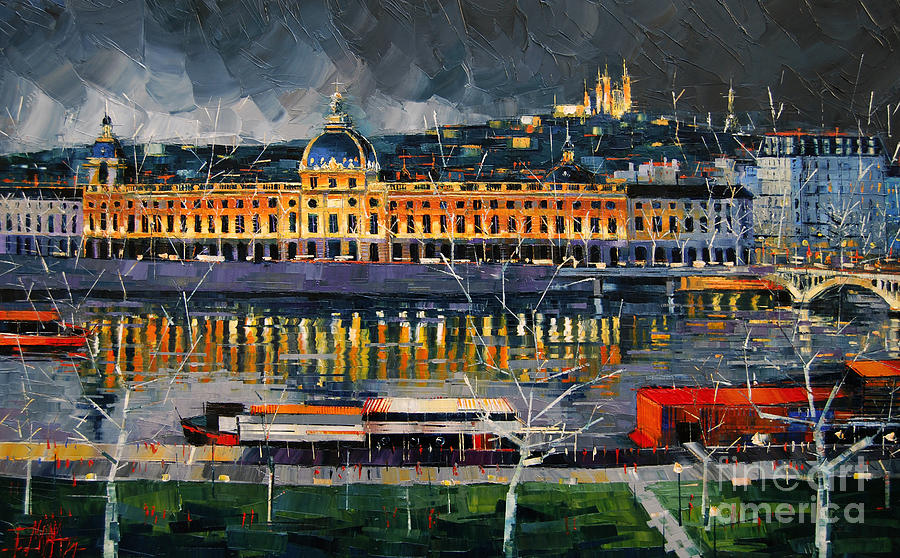 Emona Painting - Before The Storm - View On Hotel Dieu Lyon And The Rhone France by Mona Edulesco