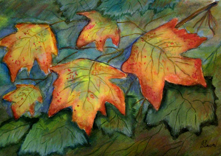 Fall Leaves Painting - Beginning Fall  Leaves by Belinda Lawson
