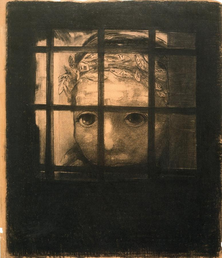 Jail Painting - Behind Bars by Odilon Redon