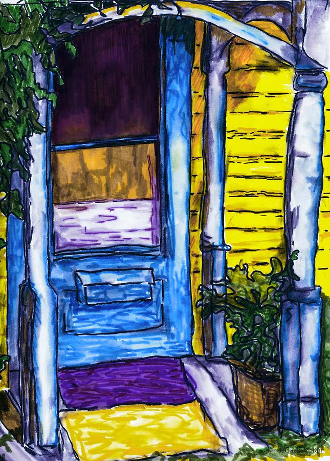 Behind The Blue Door Mixed Media