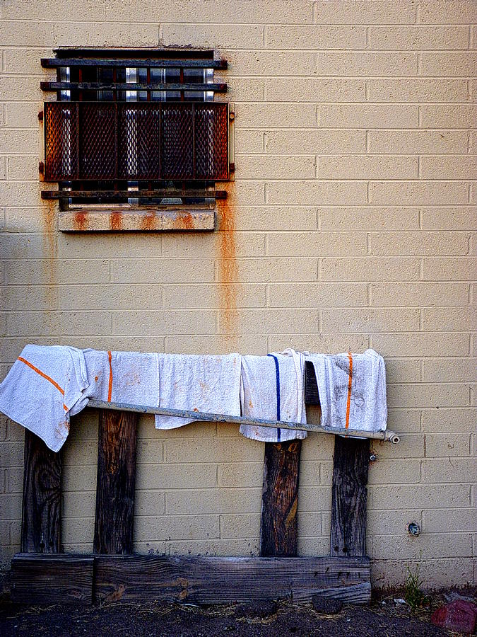 Towel Photograph - Behind The Cafe by Lin Haring