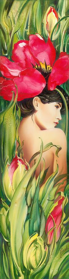 Tulip Painting - Behind The Curtain Of Colours -the Tulip by Anna Ewa Miarczynska