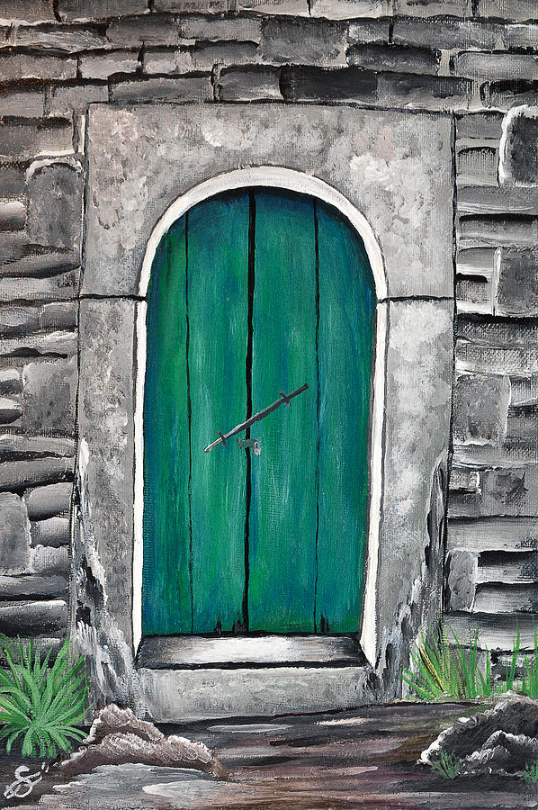 Acrylic Painting Painting - Behind The Green Door by Sherry Allen