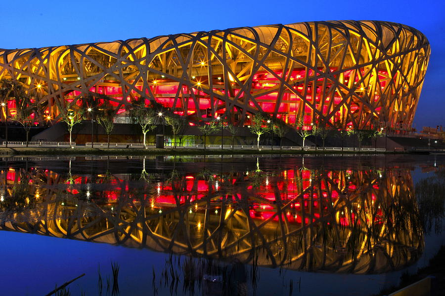 Beijing National Stadium Reflection Photograph By Donald Chen