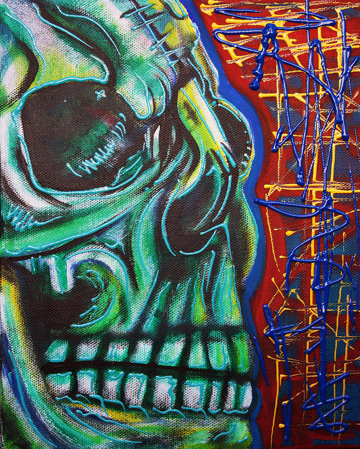 Skull Painting - Being Human by Laura Barbosa