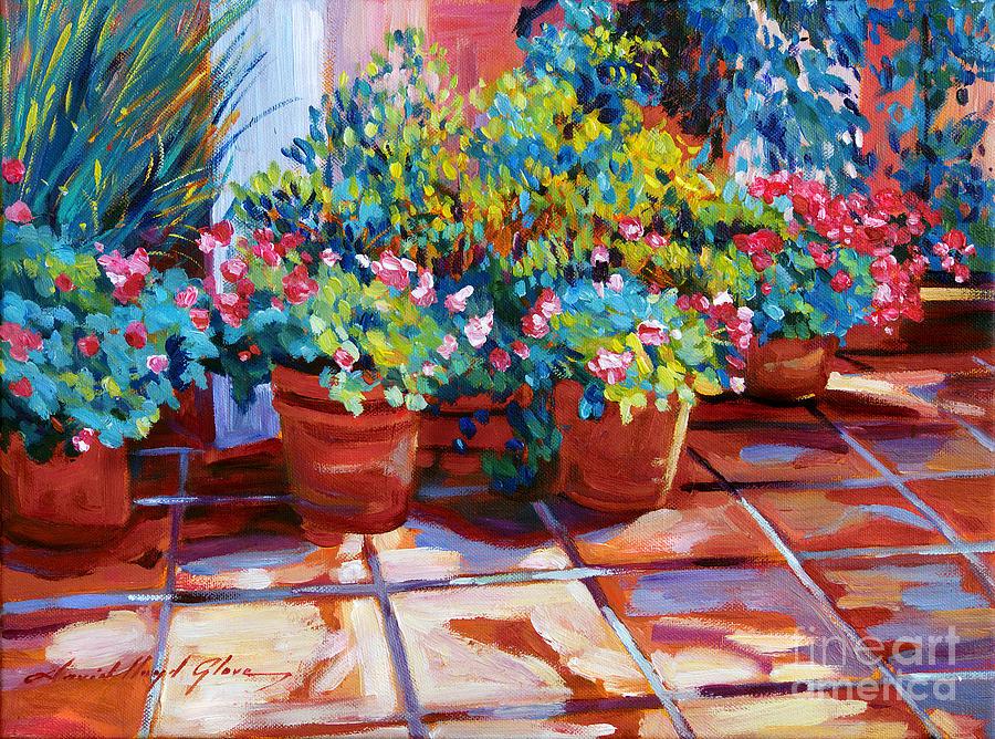 Flowers Painting - Bel-air Pots Sketch by David Lloyd Glover