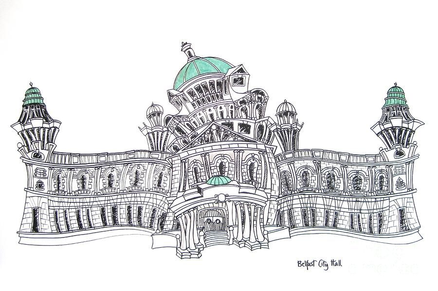 City Hall Drawing - Belfast City Hall Belfast by Tanya Mai Johnston
