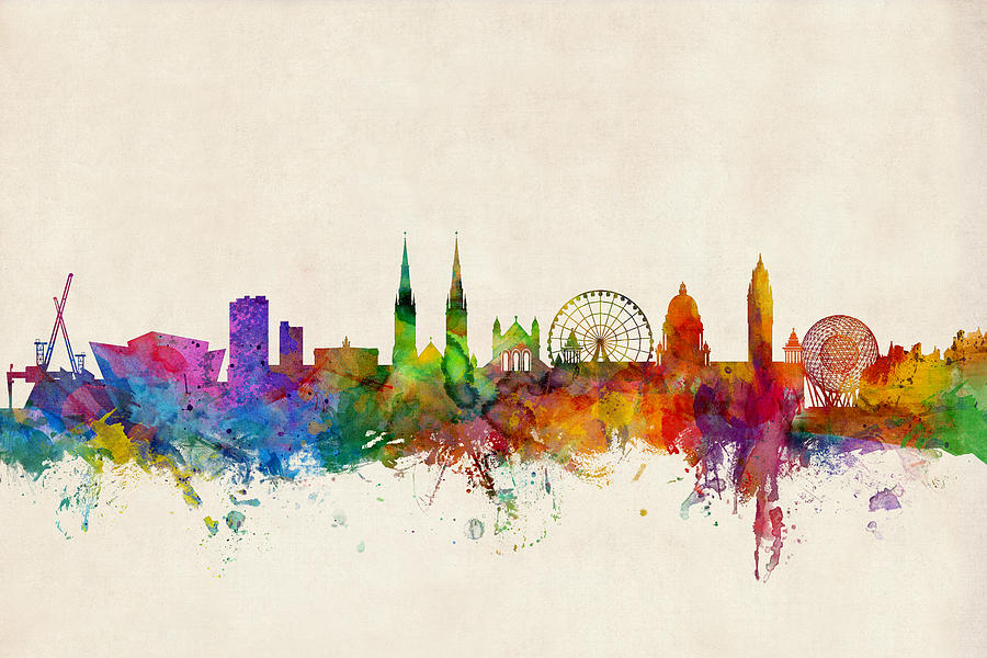 Belfast Digital Art - Belfast Northern Ireland Skyline by Michael Tompsett