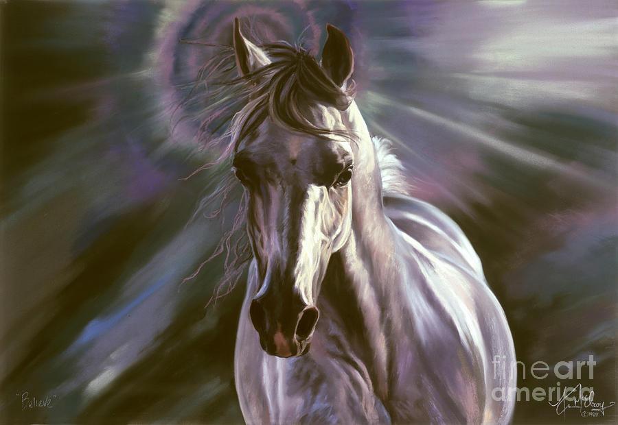 White Arabian Pastel - Believe by Kim McElroy