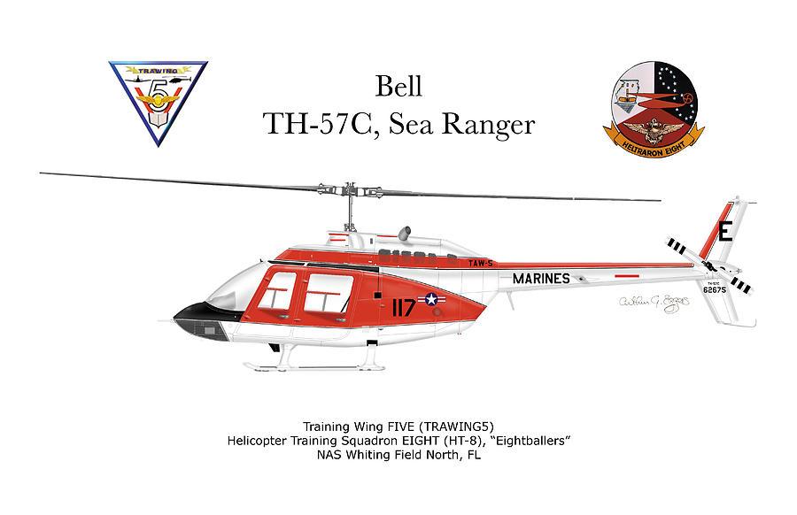 Bell Digital Art - Bell Th-57c Sea Ranger by Arthur Eggers