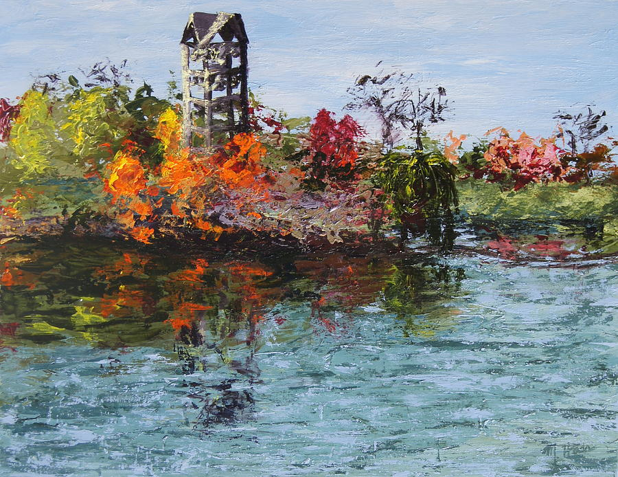 Chicago Botanic Gardens Painting - Bell Tower at the Botanic Gardens in Autumn by Mary Haas