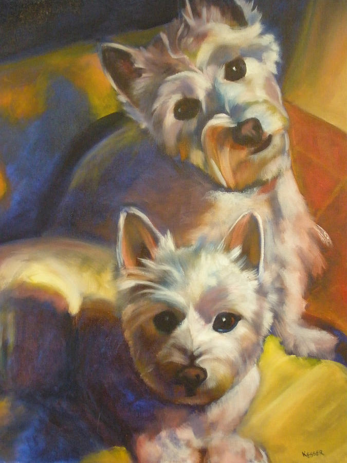 Animal Portrait Painting - Bella And Zoey by Kaytee Esser