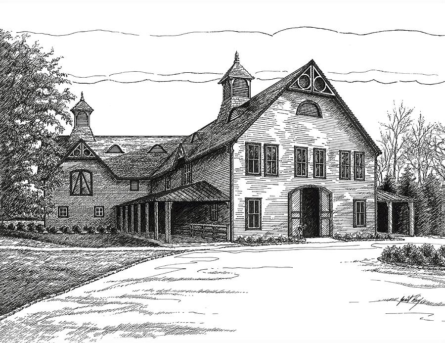 Belle Meade Plantation Drawing - Belle Meade Plantation Carriage House by Janet King