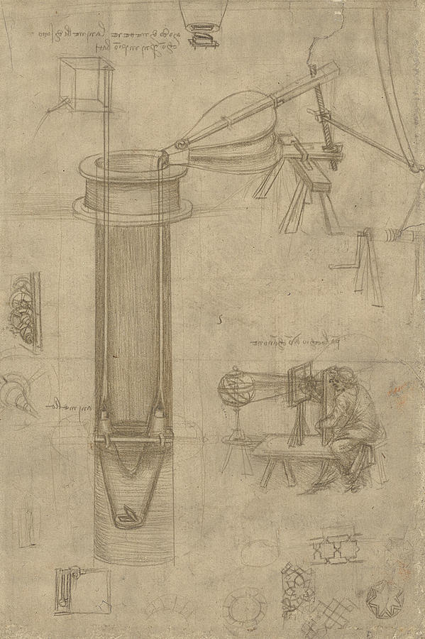 Leonardo Drawing - Bellows Perspectograph With Man Examining Inside From Atlantic Codex by Leonardo Da Vinci