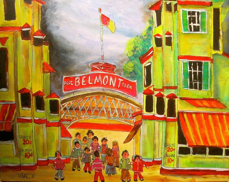 Belmont Park 1940's Painting - Belmont Park 1940s Montreal Memories by Michael Litvack