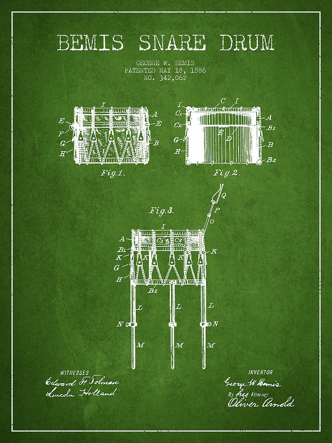 Snare Drum Digital Art - Bemis Snare Drum Patent Drawing From 1886 - Green by Aged Pixel