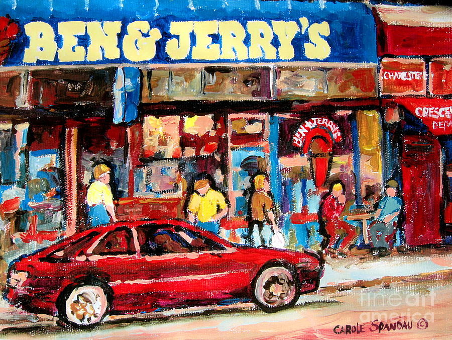 Montreal Painting - Ben And Jerrys Ice Cream Parlor by Carole Spandau