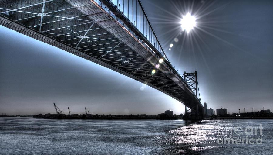 Philadelphia Photograph - Ben Franklin Bridge Under The Sun by Mark Ayzenberg